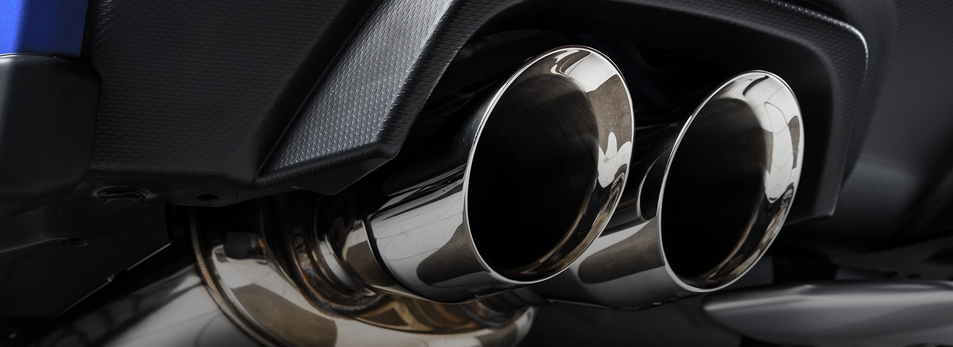 Shiny car exhausts